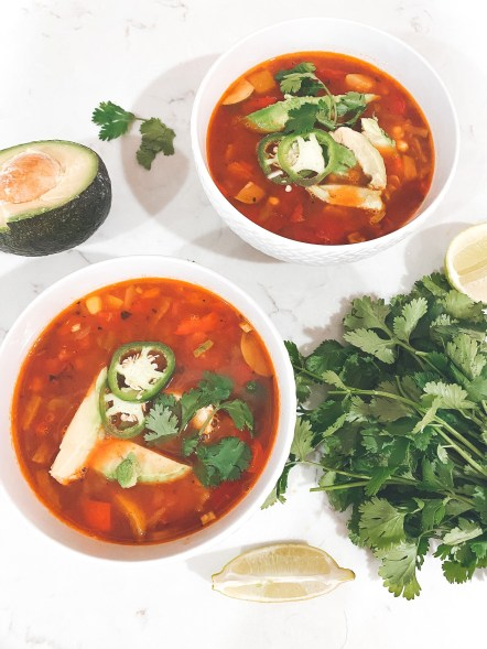 picture of vegan tortilla soup with avocado and cilantro