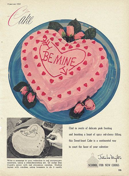 picture of a vintge valentine's day cake ad
