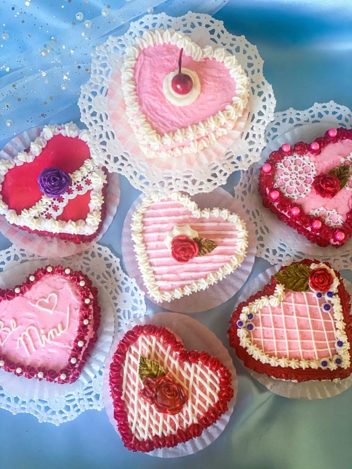 Mini Valentine's Heart Cakes
