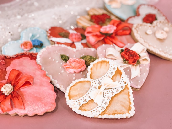 Picture of finished valentine's day heart cookies