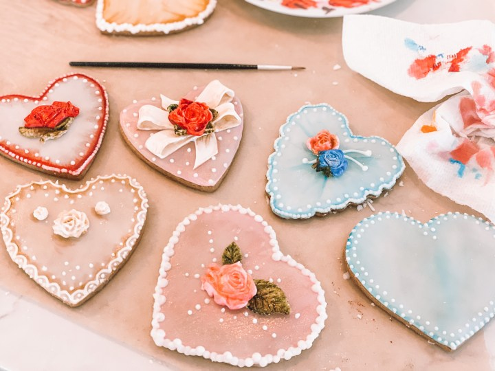 Painted Valentine's day heart cookies