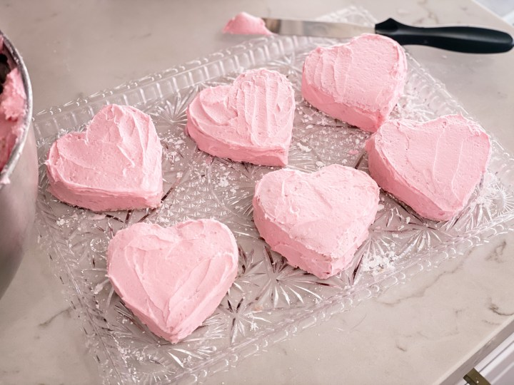 Frosted mini heart cakes