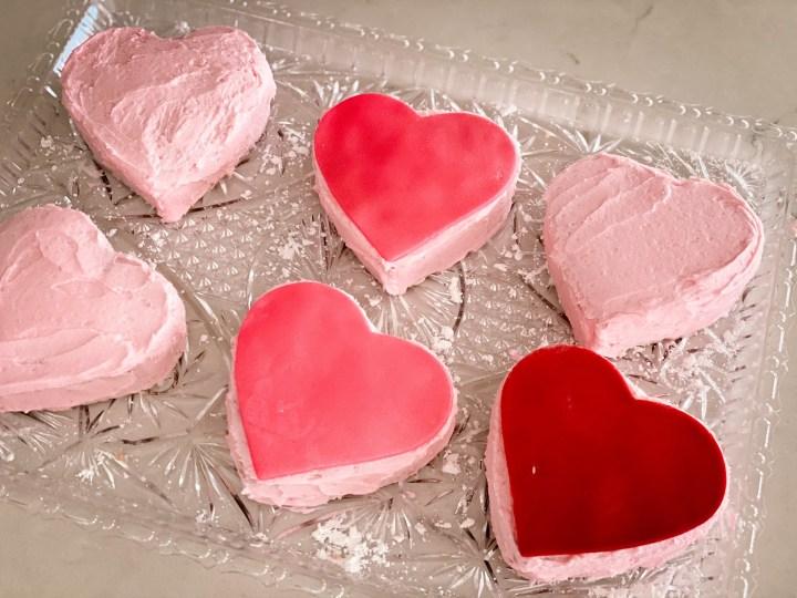 Fondant decorated heart cakes