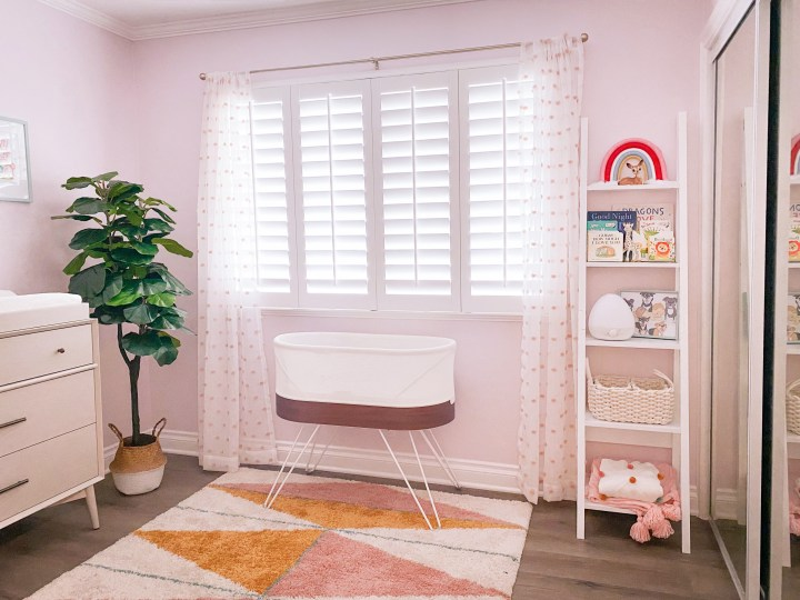 pink mid-century modern baby girl nursery