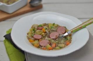 Linsensuppe mit Frankfurter Rindswurst