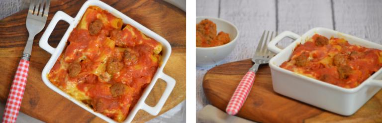 """Pasta Piena heißt so viel wie """"volle Nudeln"""" und ist eine Art Nudelauflauf. Enthalten sind natürlich Nudeln, meist Penne oder Rigatoni, kleinen Hackfleischbällchen, auch Polpette genannt, sowie Parmesan und jede Menge Provola."""