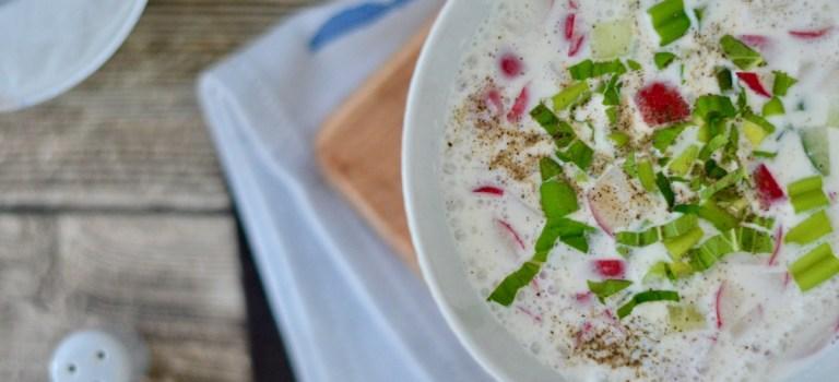 Vegetarisch Kochen: Joghurt-Gazpacho mit knackigem Gemüse
