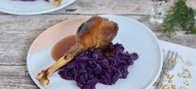Weihnachtsmenü: Maronen-Dattel-Suppe & Gänsekeulen mit Apfelrotkraut an Rotweinsauce