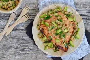 Happy Food: Lachs vom Grill auf Quinoa-Zucchini-Salat