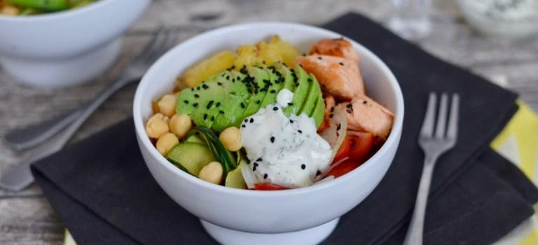 Happy Food: Lachs-Bowl mit Bratkartoffeln & Zucchini