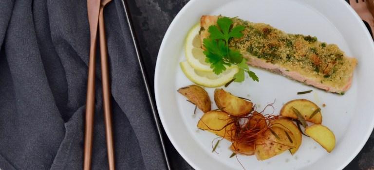 Advent, Advent: Lachs in Kräuter-Parmesan-Kruste mit Rosmarinkartoffeln