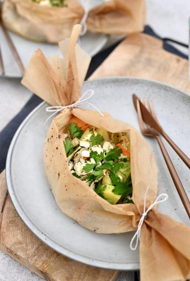 Für jeden Tag: gegrillte Gemüsepäckchen mit Feta