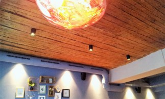The interior with wooden ceiling with a touch of Area 51