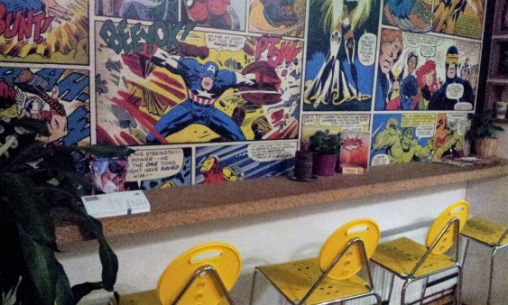 You can also have a seat at the comic all at the corner