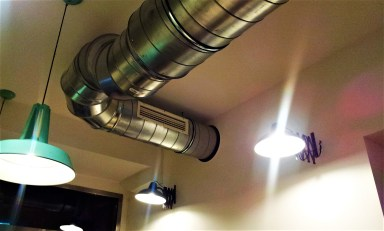 This pipe is on the ceiling and fancy as it is, it is definitely something for Tom Cruise to crouch through