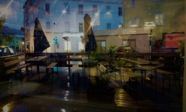 The view of the patio while it rained cats and dogs