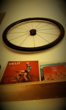 There are many bike utilities on the walls