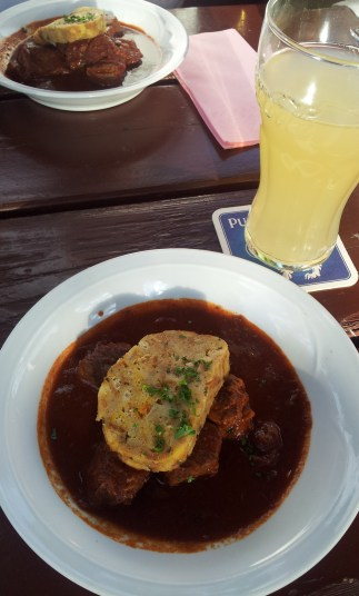 The Goulash with bread dumpling and apple juice