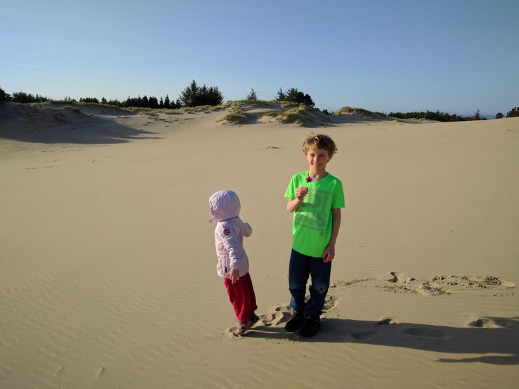 Kids at Oregon Dunes