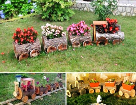Log-Train-Garden-Yard-Art-flower-planter