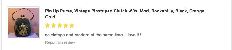 pinstriped purse, vintage, handbag, retro, pinup, fashion, customer review, testimonial