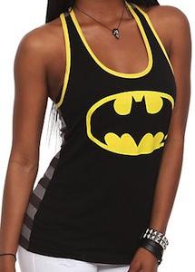 Batman Logo Grey Striped Tank Top