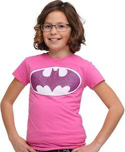 Big Girls Pink Batman Logo T-Shirt With Glitter