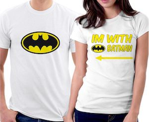 I Am With Batman Couples T-Shirt Set