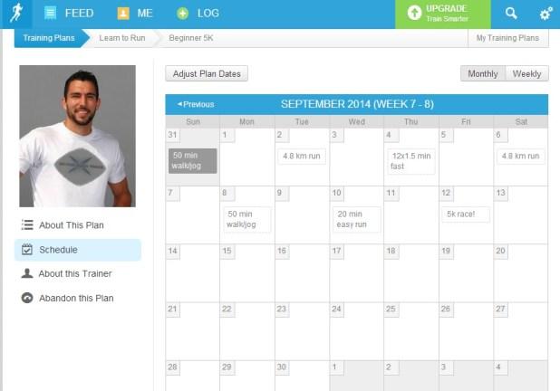 Runkeeper 5K training schedule