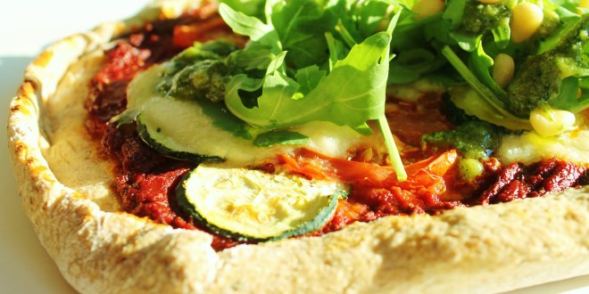 Spelt pizza with cress pesto