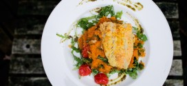 Arugula, Tomato and Pesto Sweet Potato Mash with Fish Schnitzel