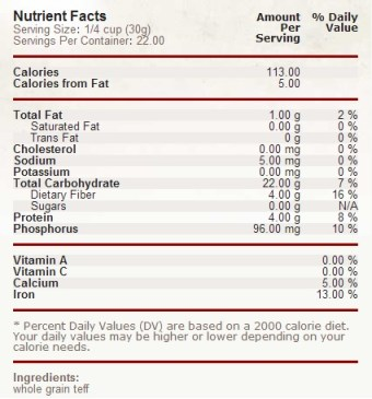 teff flour nutritional facts