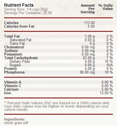 teff flour nutritional facts