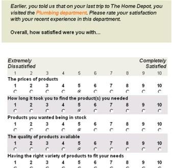 Image result for home depot customer survey
