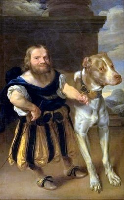 Karel van Mander III, The Elector of Saxony's Italian Dwarf, Giachomo Favorchi with Princess Magdalene Sibylle of Denmark's Dog, Raro, 1665