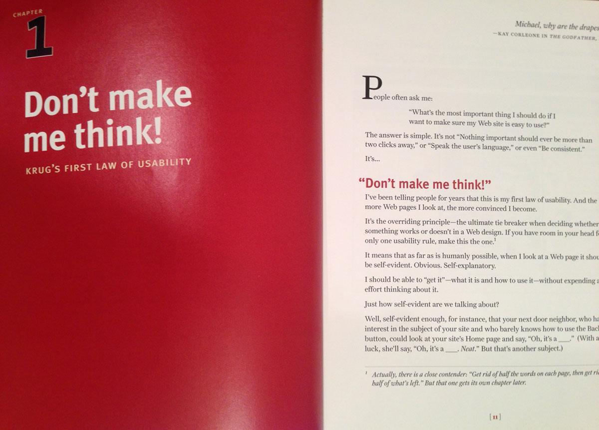 chapter one of the Don't make me think book by steve krug