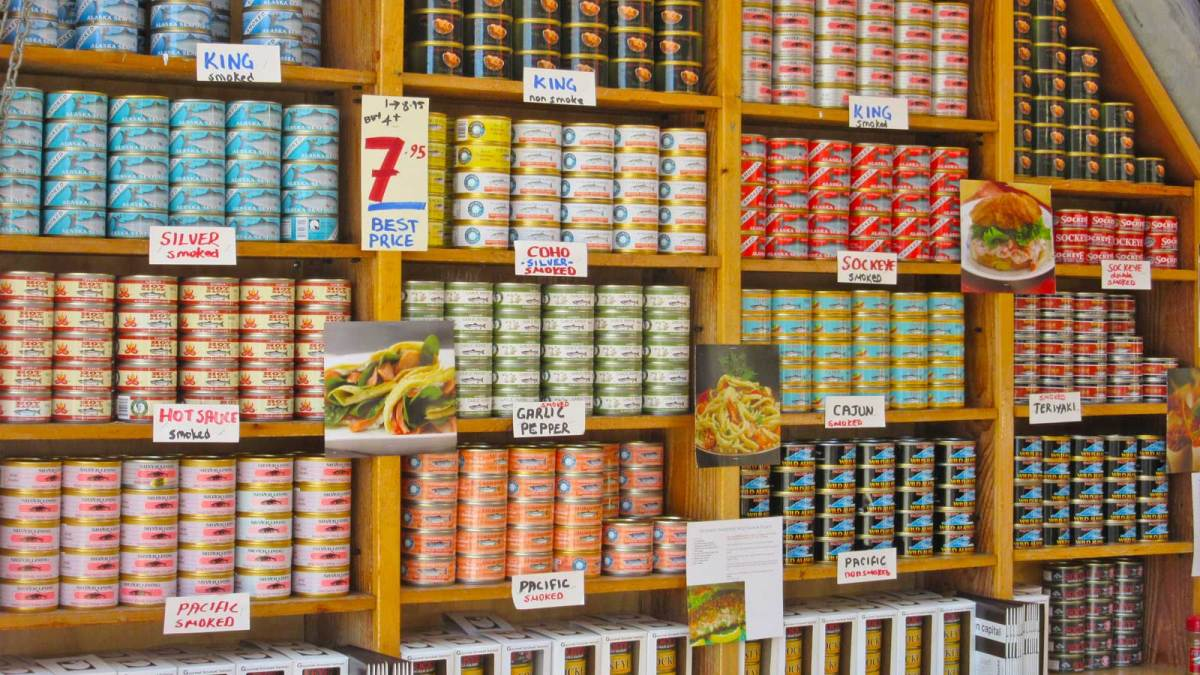 An array of canned salmon is available
