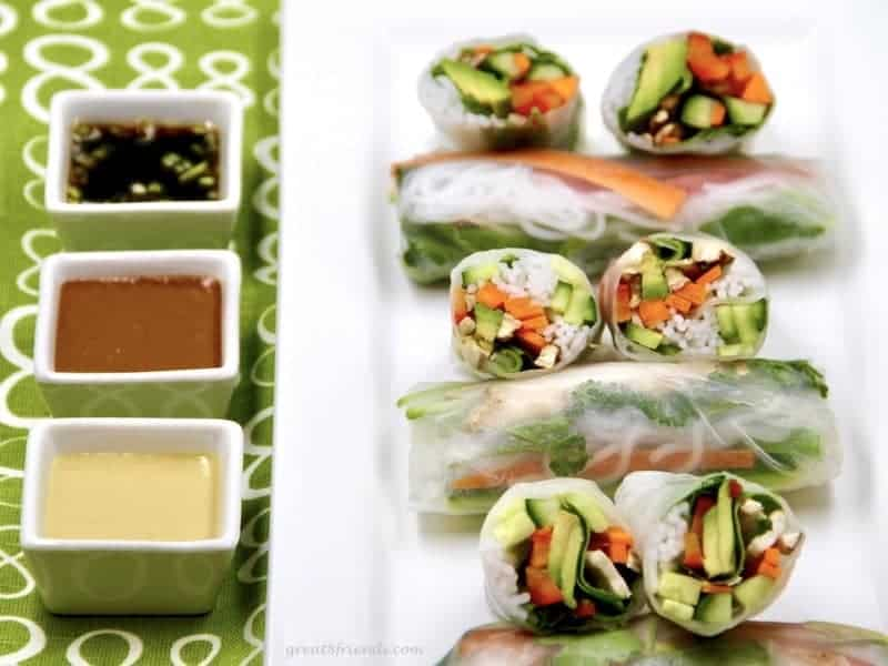 Vegetable Spring Rolls and three dipping sauces.