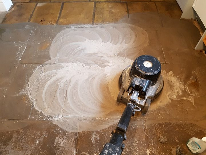 Yorkstone Slab Floor During Cleaning in Hyde