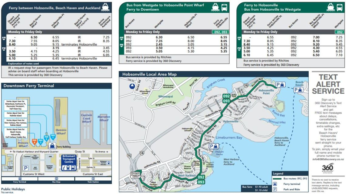 Hobsonville Ferry Timetable 1