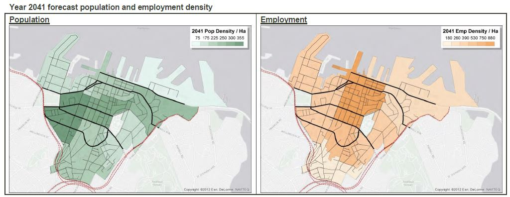 2041 Forecast CBD population and employment density