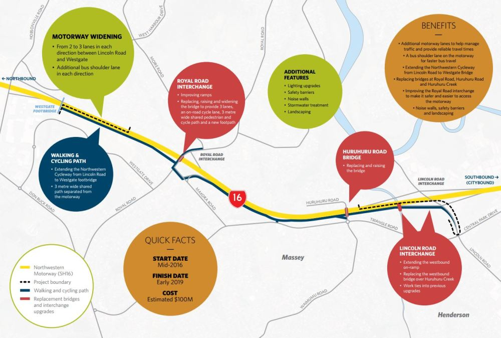 Lincoln Rd to Westgate Motorway Widening Map