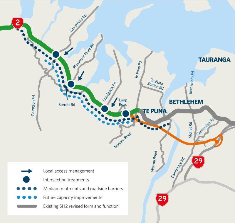 Tauranga - Omokoroa to Te Puna Safety Improvements Map