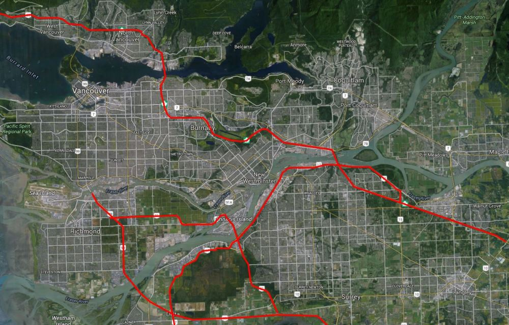 Vancouver Map with motorways