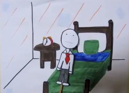 A scene from Bill's Story, the winner of our Human Happiness Student Video Competition.