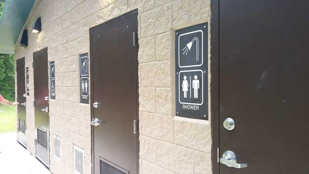 Restrooms near the main parking lot.