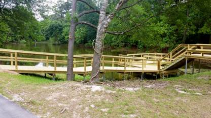Wood dock near the main parking lot and restrooms