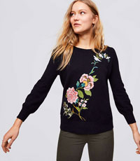 FLORAL EMBROIDERED BLOUSON SWEATER