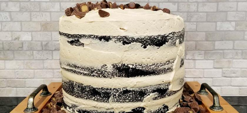 Sky High Chocolate Peanut Butter Whiskey Cake