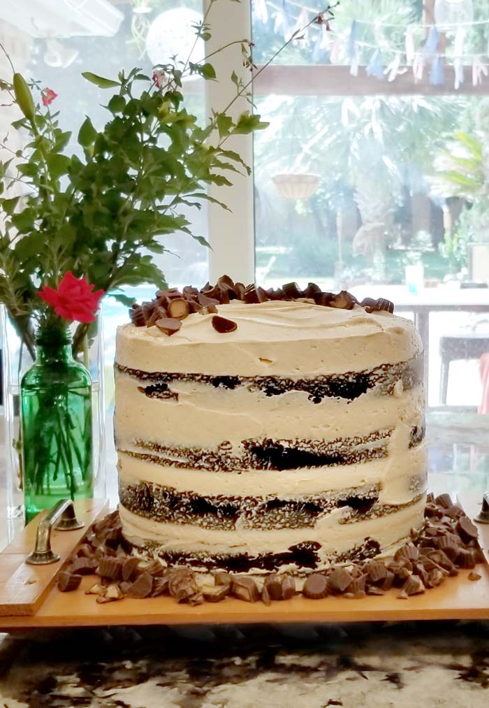 Rustic Chocolate Peanut Butter Whiskey Cake